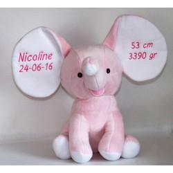 Cubbies lyserød elefantbamse med tekst på