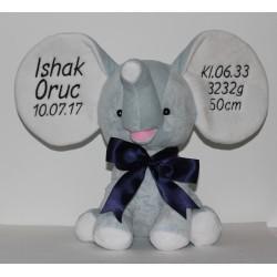 Cubbies blå elefantbamse med tekst på