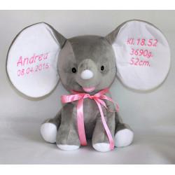 Cubbies elefant bamse med navn og fødselsdato på.