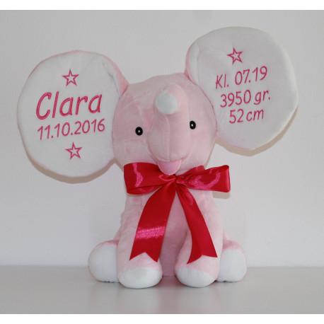 Stor  Baby Cubbies lyserød elefantbamse med tekst på