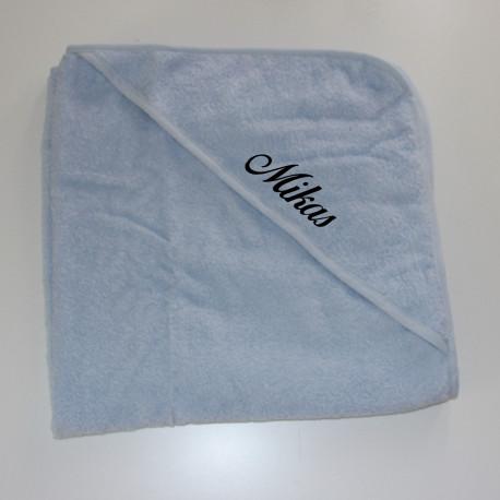 Lyserblåt baby håndklæde med navn på