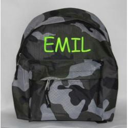 Militær børnehaverygsæk med navn på
