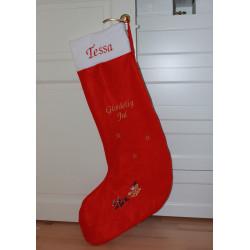 Kæmpe stor rød julestrømpe med navn på