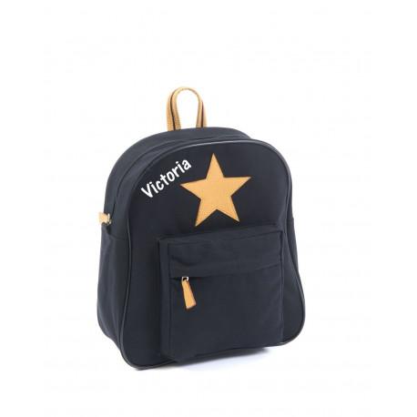 Smallstuff lille sort rygsæk med navn