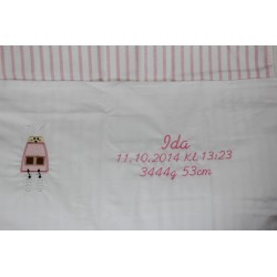 Lyserød junior sengetøj med navn på